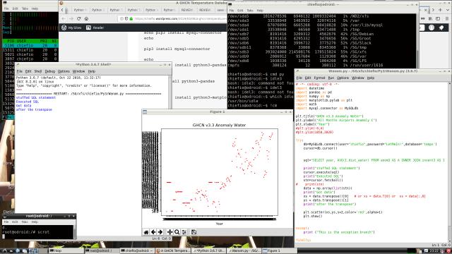 Screen Shot of Ubuntu N2 running Python matplotlib and how it fails