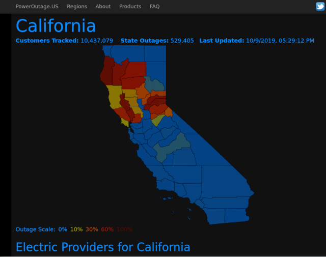Mpa of N. California Power Outages