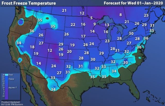 USA Frost and freeze forecast