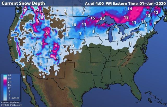 USA Snow Depth 1 Jan 2020