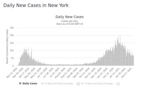 New York Daily New Cases 25 Feb 2021