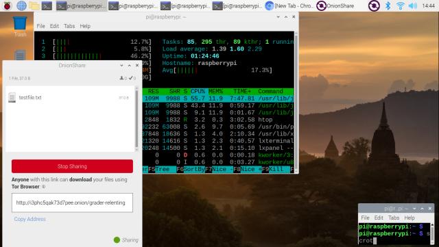 Raspbian Onionshare and i2prouter running