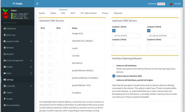 PiHole DNS setting page