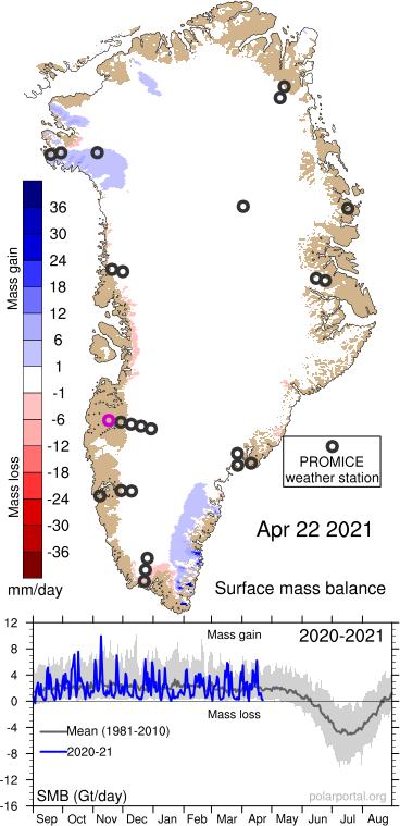 Greenland Ice Gain 22Apr2021