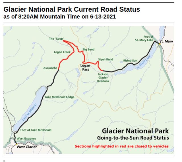 Glacier Park Roads 13 June 2021